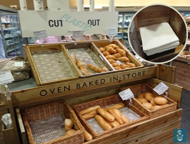 走塑超市提供紙袋裝麵包